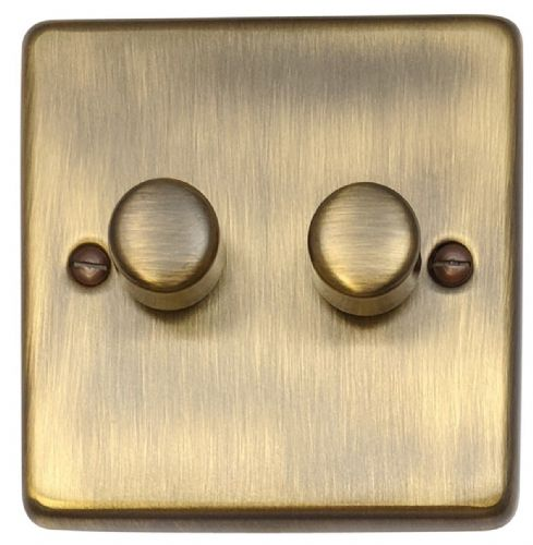G&H CAB12 Standard Plate Antique Bronze 2 Gang 1 or 2 Way 40-400W Dimmer Switch